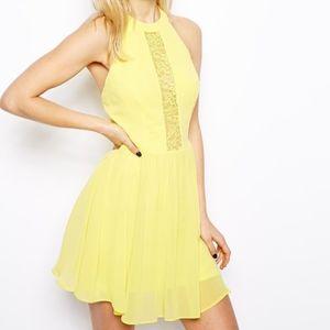 ASOS Lace Insert Halter Skater Dress Yellow Size 0